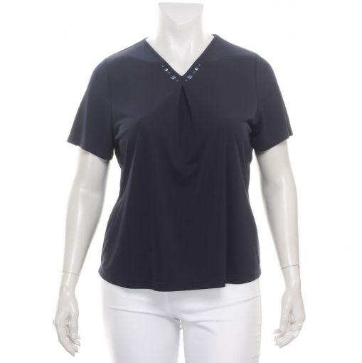 Godske donkerblauw shirt met versierde halslijn