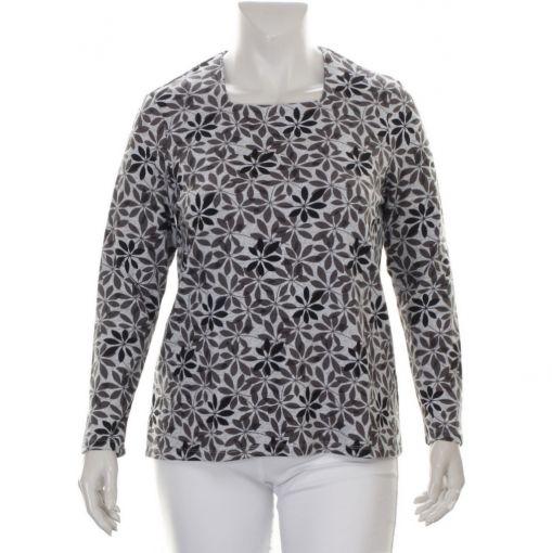 Karntner grijs shirt met grijs zwarte bladprint