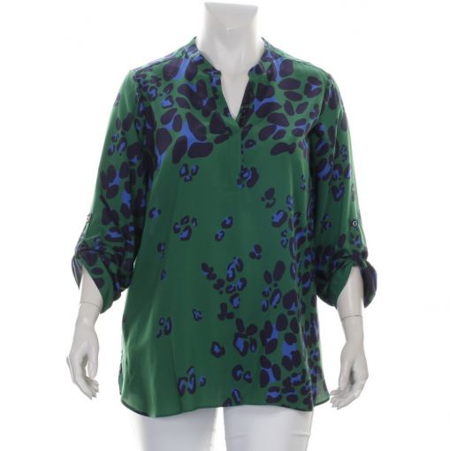 Doris Streich groene blouse met blauwe panterprint