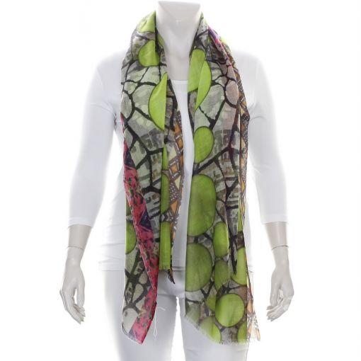 Wollen shawl met groene bollen