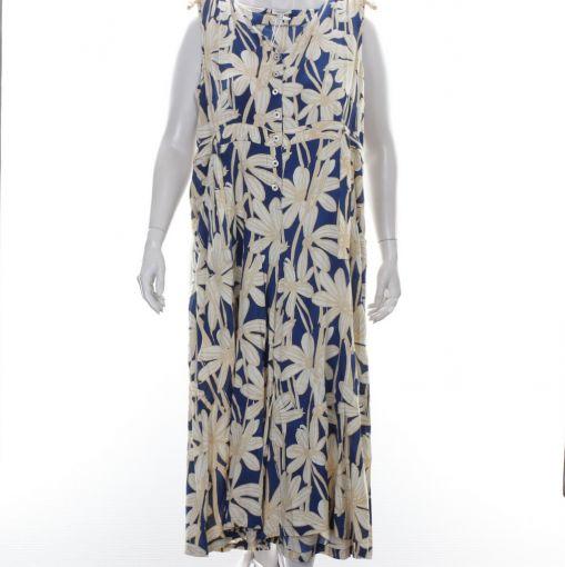 Orientique jumpsuit blauw zand ecru bloemen