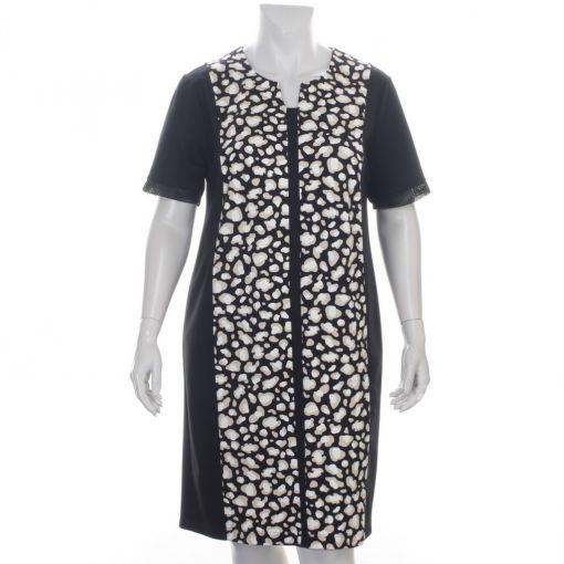 Verpass jurk zwart met ecru beige print