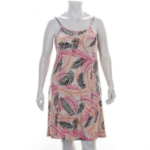Signature beige jurk met spaghettibandjes en roze zwarte bladprint