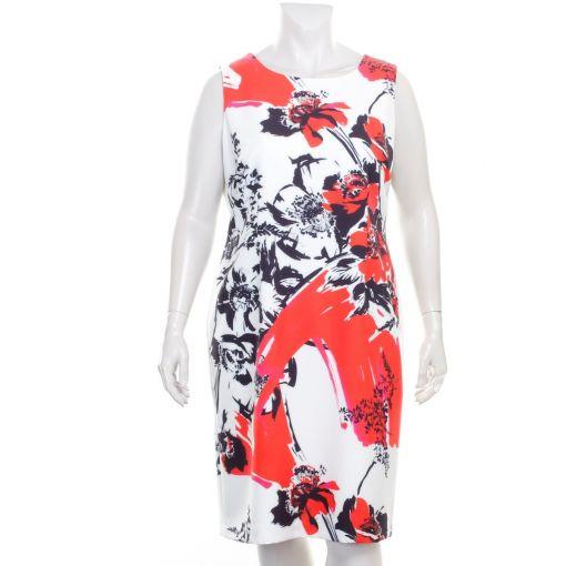 Tia witte jurk met zwart rode bloemenprint