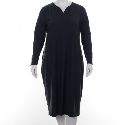 Plus Basics blauwe travelstof jurk met zakken