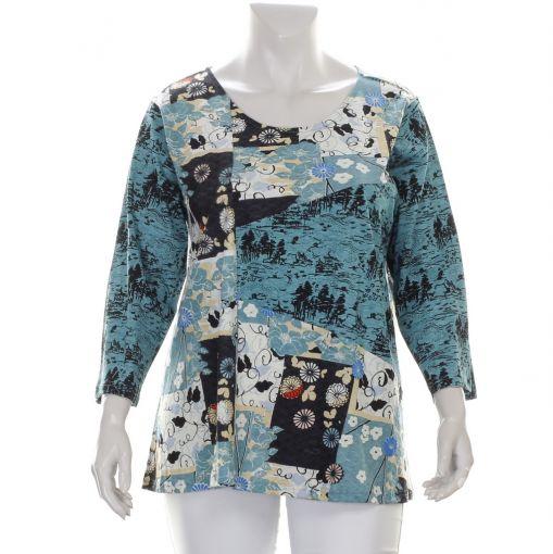 Orientique shirt blauw ecru zwarte print met bloemen