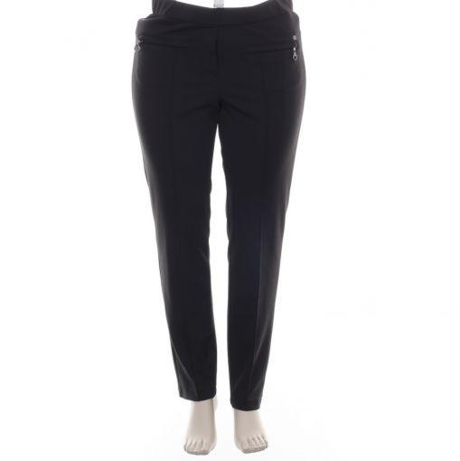 KJ Brand Exquisite zwarte broek met fijn relief model Jenny
