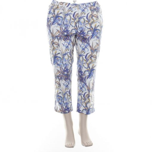 KJ Brand capribroek ecru blauw oker print Betty CS 7/8e