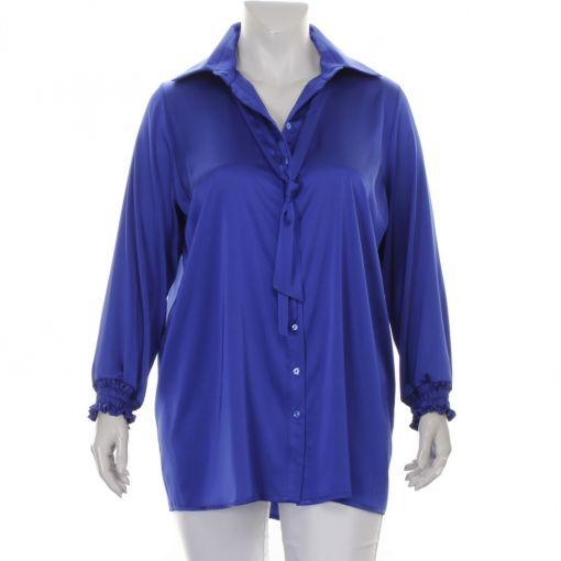 Only-M glanzende kobaltblauwe blouse