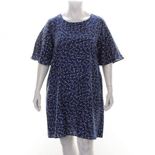 Orientique blauwe jurk met wit rode bloemetjesprint