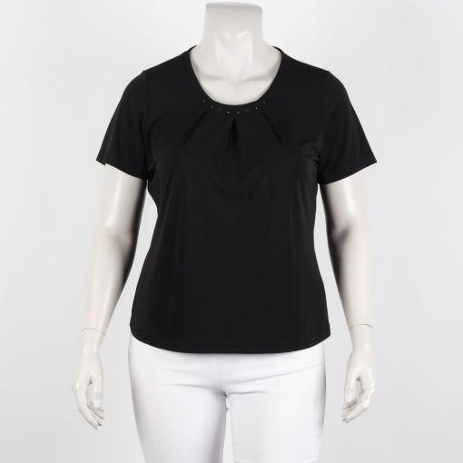 Godske shirt zwart met glimmende opzetjes bij de hals