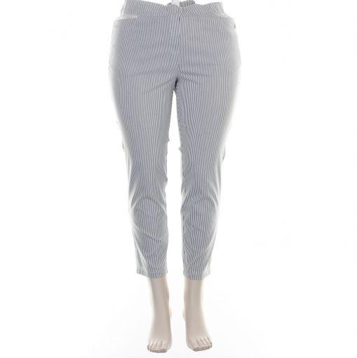Adelina grijs wit gestreepte broek