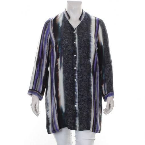 Q'neel blauw paars ecru gestreepte cupro blouse