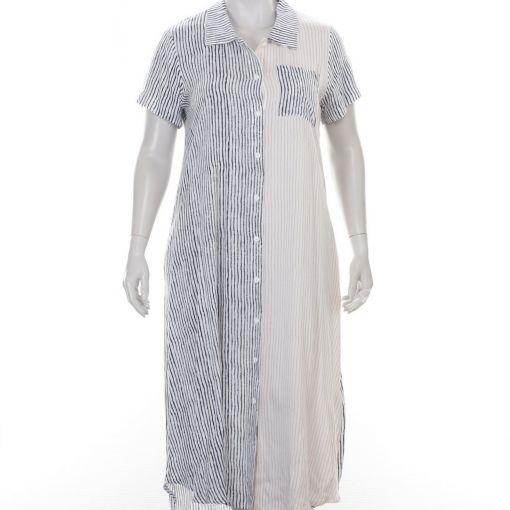 Luukaa gestreepte jurk blauw wit en roze