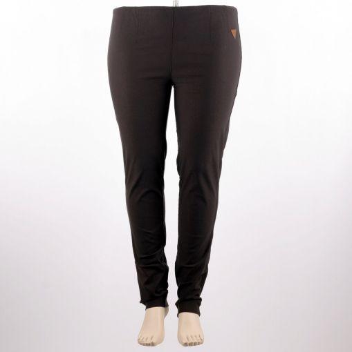 Donkerbruine stretch broek smal aansluitend model smalle pijp model Sanna merk Laurie