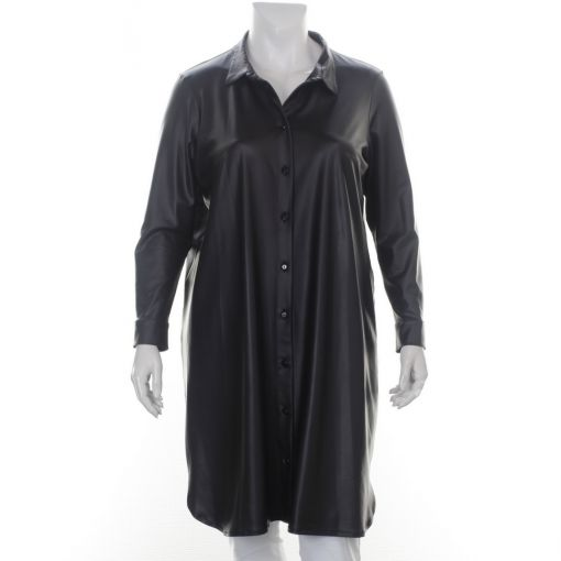 Only-M zwarte leather look jurk blouse