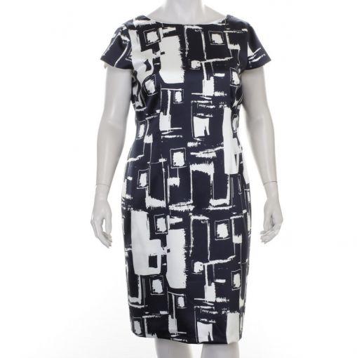 Tia gevoerde blauw witte jurk
