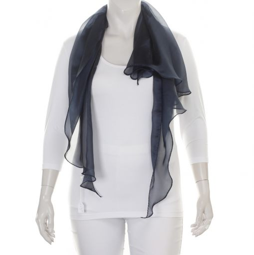 Doorzichtige donkerblauwe shawl met subtiele glans