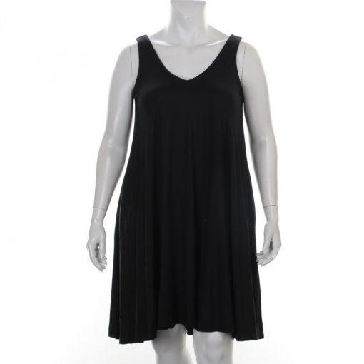 Mat mouwloze zwarte A-lijn jurk