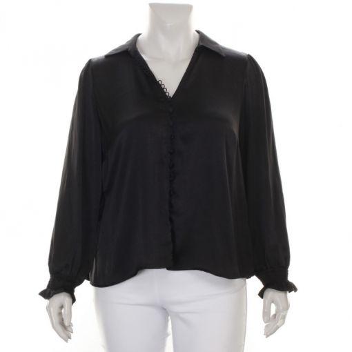 Mat zwarte blouse met sierknoopjes