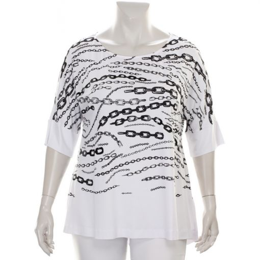Mat wit shirt met zwarte kettingprint