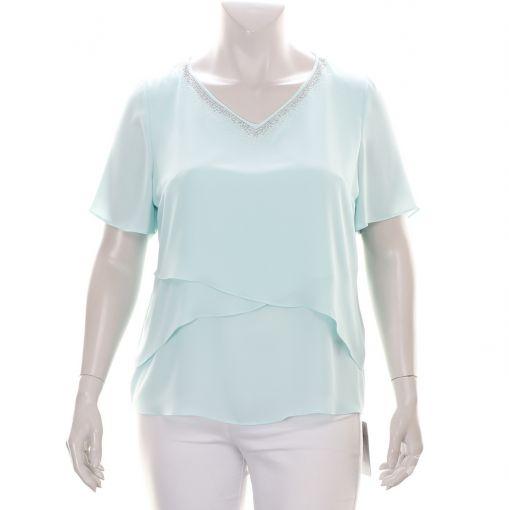 Mintgroene voile blouse met versierde halslijn