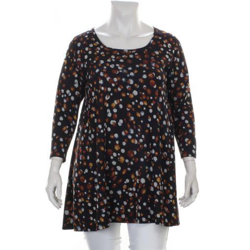 MJ-Style zwart A-lijn shirt met gekleurde bollenprint