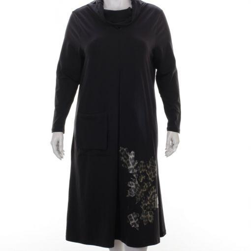 Nör zwarte jurk met col en panterprint details