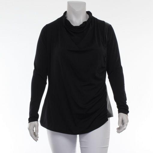 Nör zwart shirt met imitatie leer