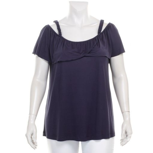 Maxima donkerblauw off shoulder shirt met roezel