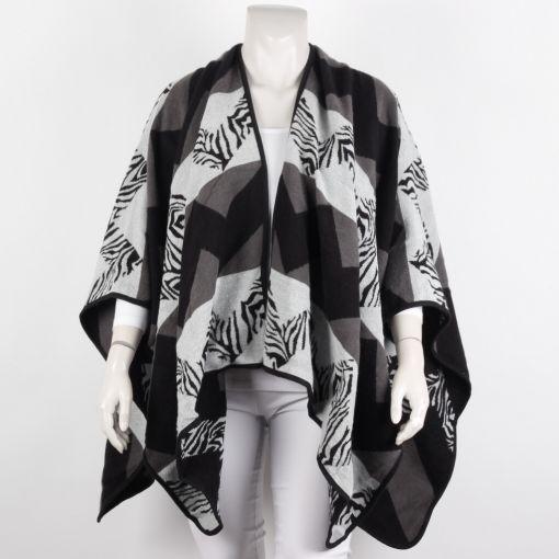 Omslagdoek grijs zwart en zebraprint