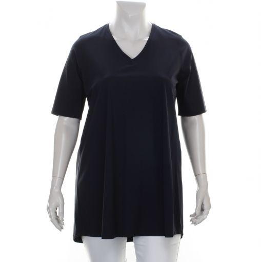 Only-M blauw travelstof shirt met v-hals