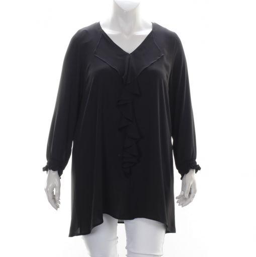 Only-M zwarte viscose blouse met roezel