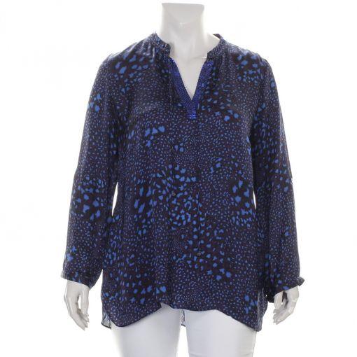 Open End paars blauwe blouse met panterprint
