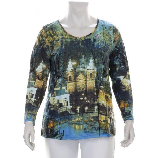 Orientique katoenen shirt Amsterdam bij nacht print