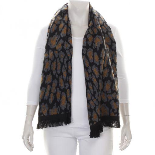Zwarte shawl met oker en grijze panterprint