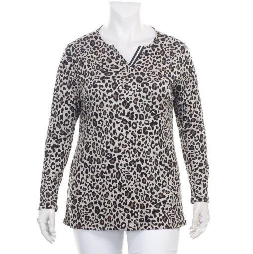 Doris Streich beige shirt met panterprint