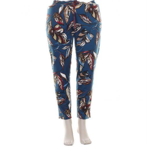 Gigliorosso pantalon petrol met bladprint