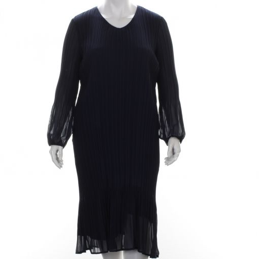 Samoon blauwe voile plisse jurk