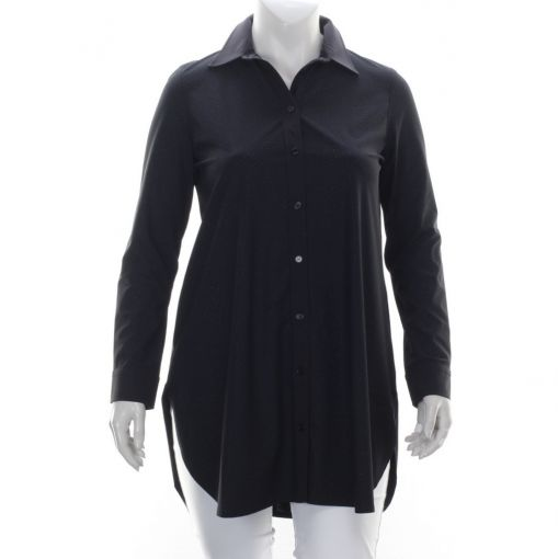 Plus Basics zwarte travelstof blouse met glitter