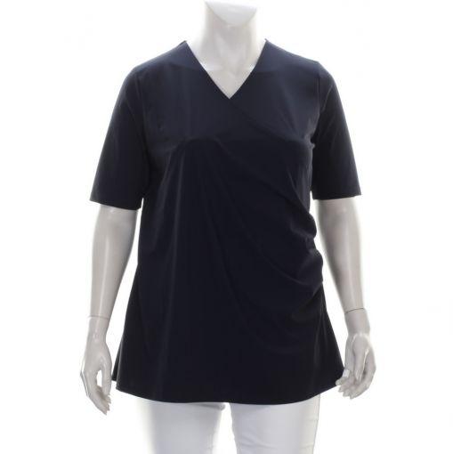 Plus Basics blauw shirt met overslag