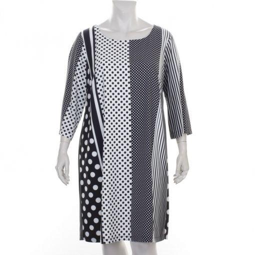 Yoek zwart witte jurk met polkadot en strepen
