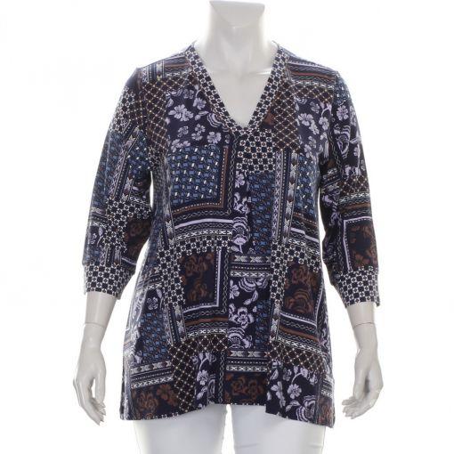 Via Appia donkerblauw shirt met paars bruin blauwe print
