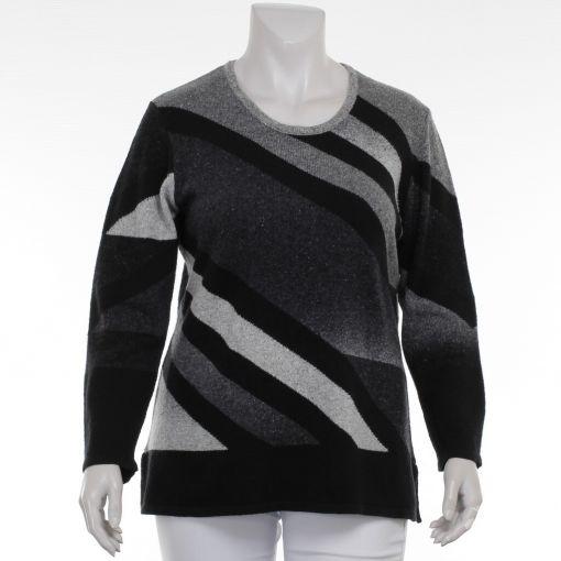 Doris Streich pullover zwart grijs gebreid