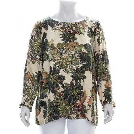Que cupro blouse zandkleurig met groen bruine print