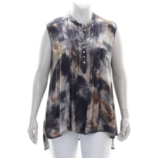 Que divers gekleurde mouwloze blouse met panterprint