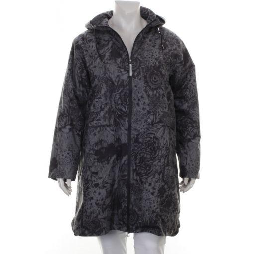 Etage jas taupe met zwarte bloemenprint