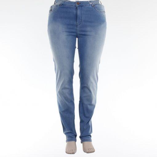 Blue Frog lichtblauwe stretch jeans broek normaal bovenbeen smaller toelopende pijp