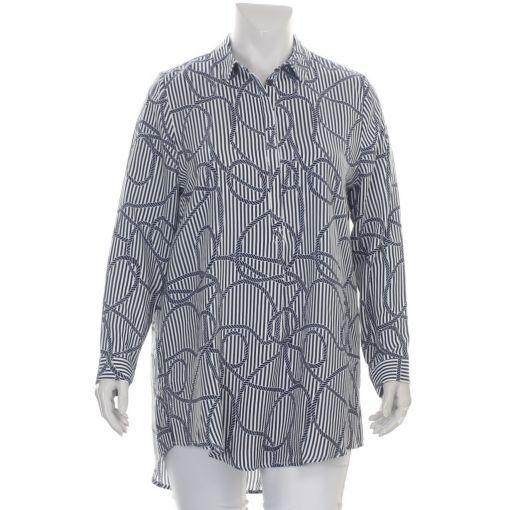 Request blauw wit gestreepte blouse met nautische print