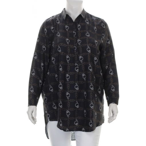 Request blouse zwart bruin wit ketting print